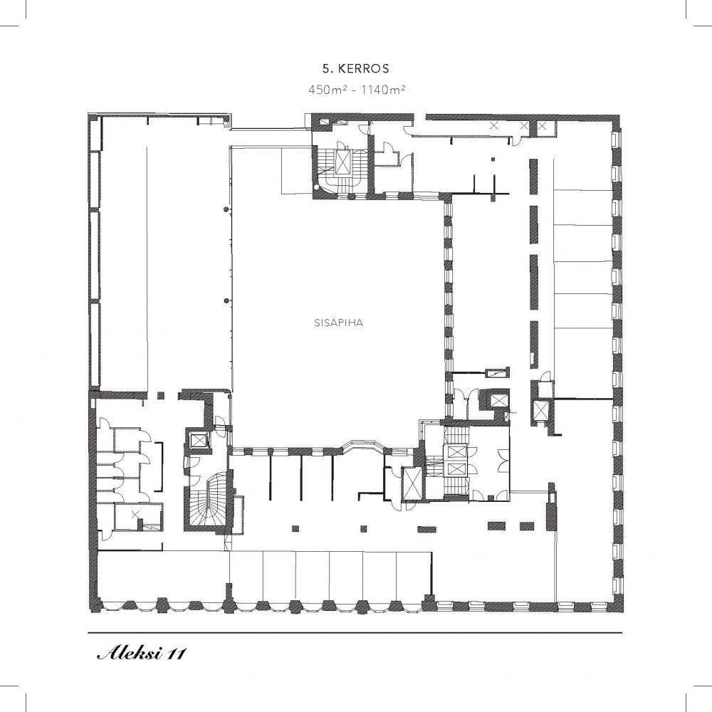 Aleksanterinkatu 11, 1140m2, 5. kerros, Toimistotila