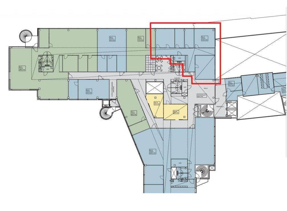 Huopalahdentie 24 B-talo, 190m2, 4. kerros, Toimistotila