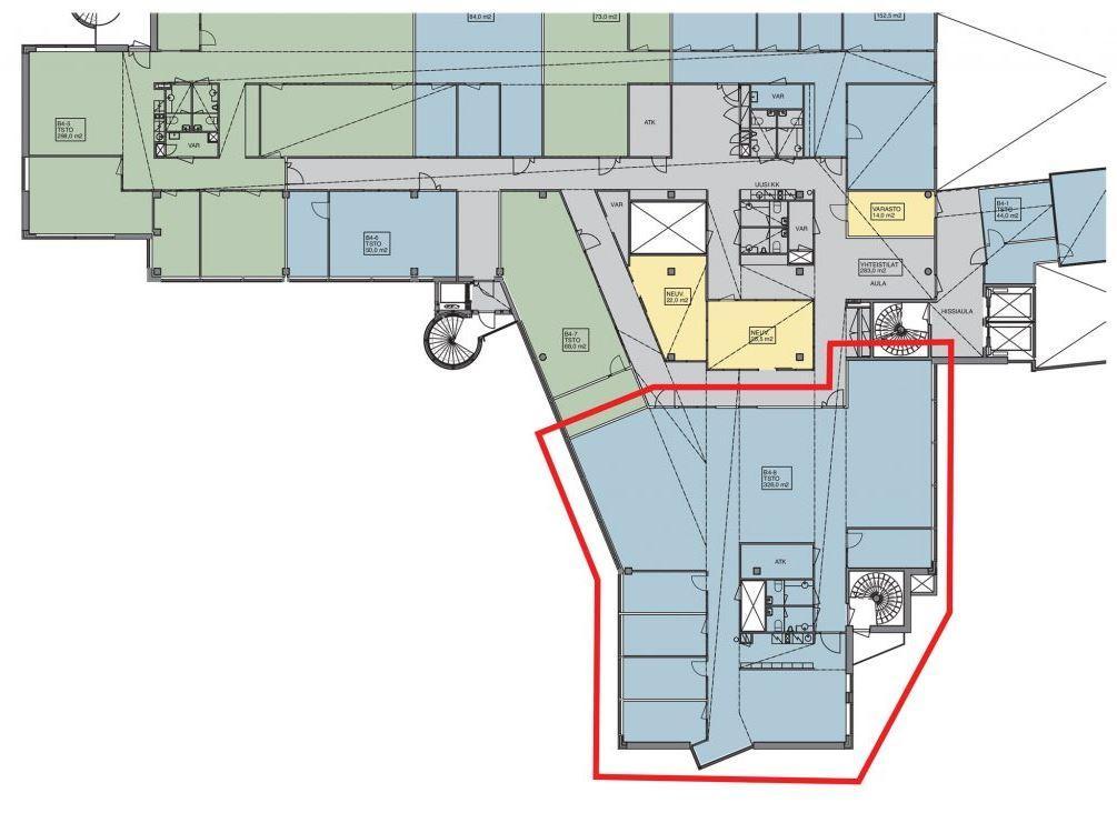 Huopalahdentie 24 B-talo, 326m2, 4. kerros, Toimistotila