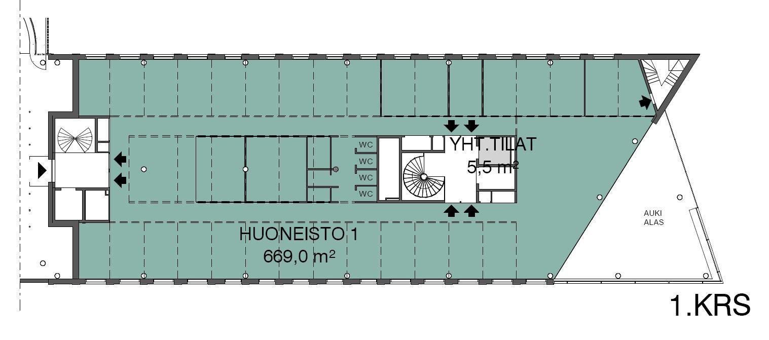 Piispanportti 7, 669m2, 1. kerros, Toimistotila