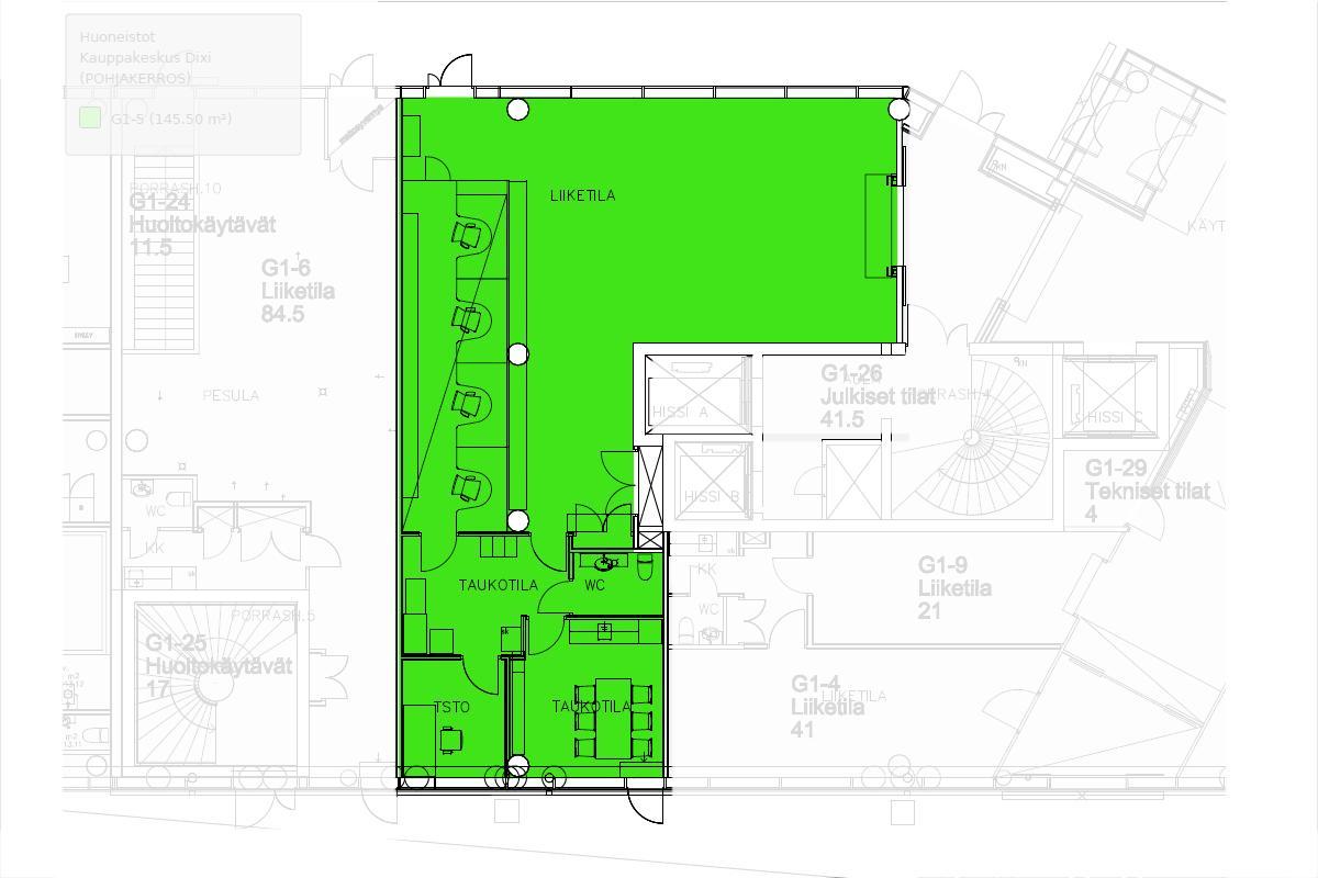 Ratatie 11 Kauppakeskus Dixi, 145m2, Katutaso, Liiketila