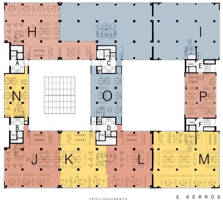 Teollisuuskatu 21, 376m2, 3. kerros, Toimistotila