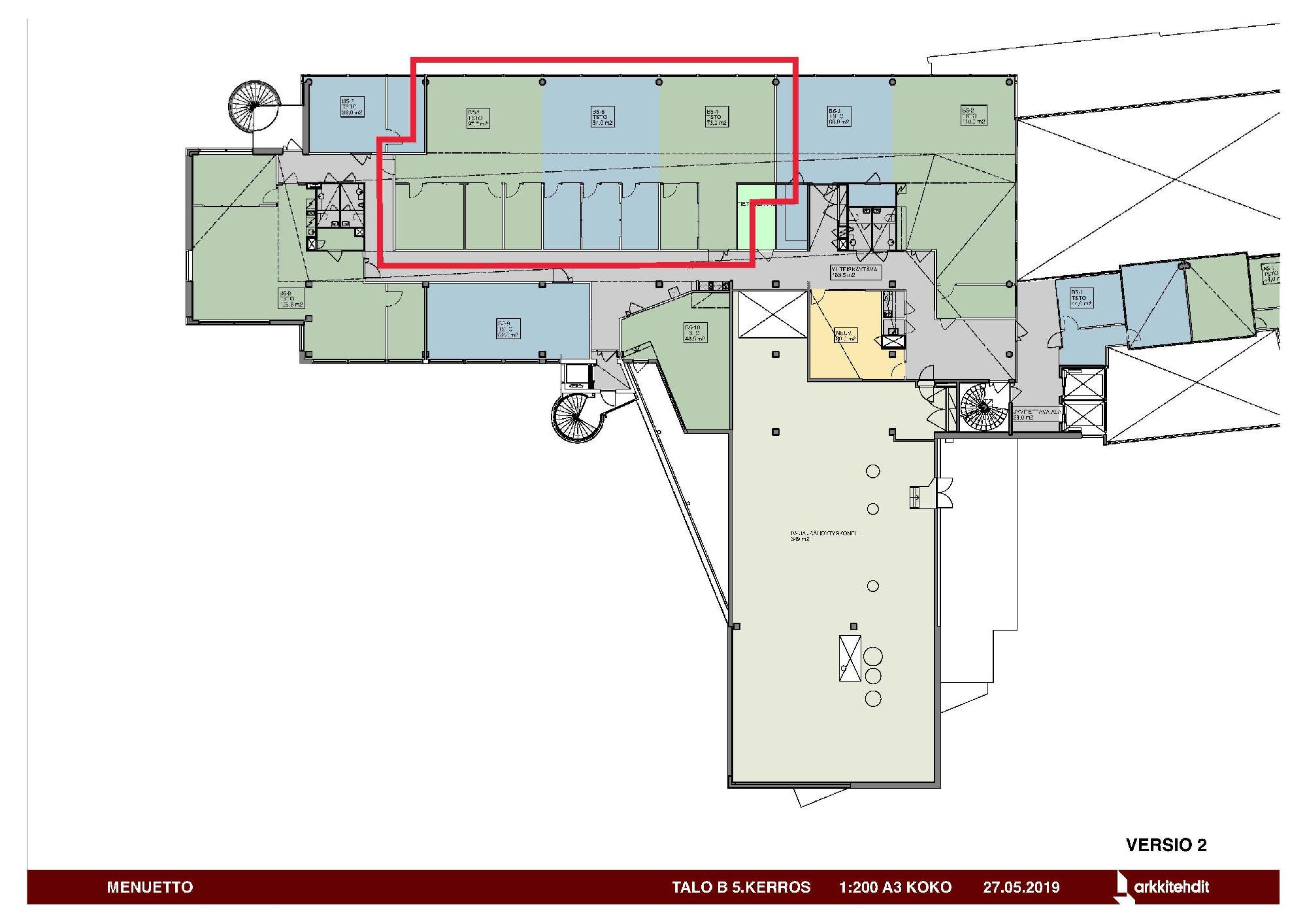 Huopalahdentie 24 B-talo, 315m2, 5. kerros, Toimistotila