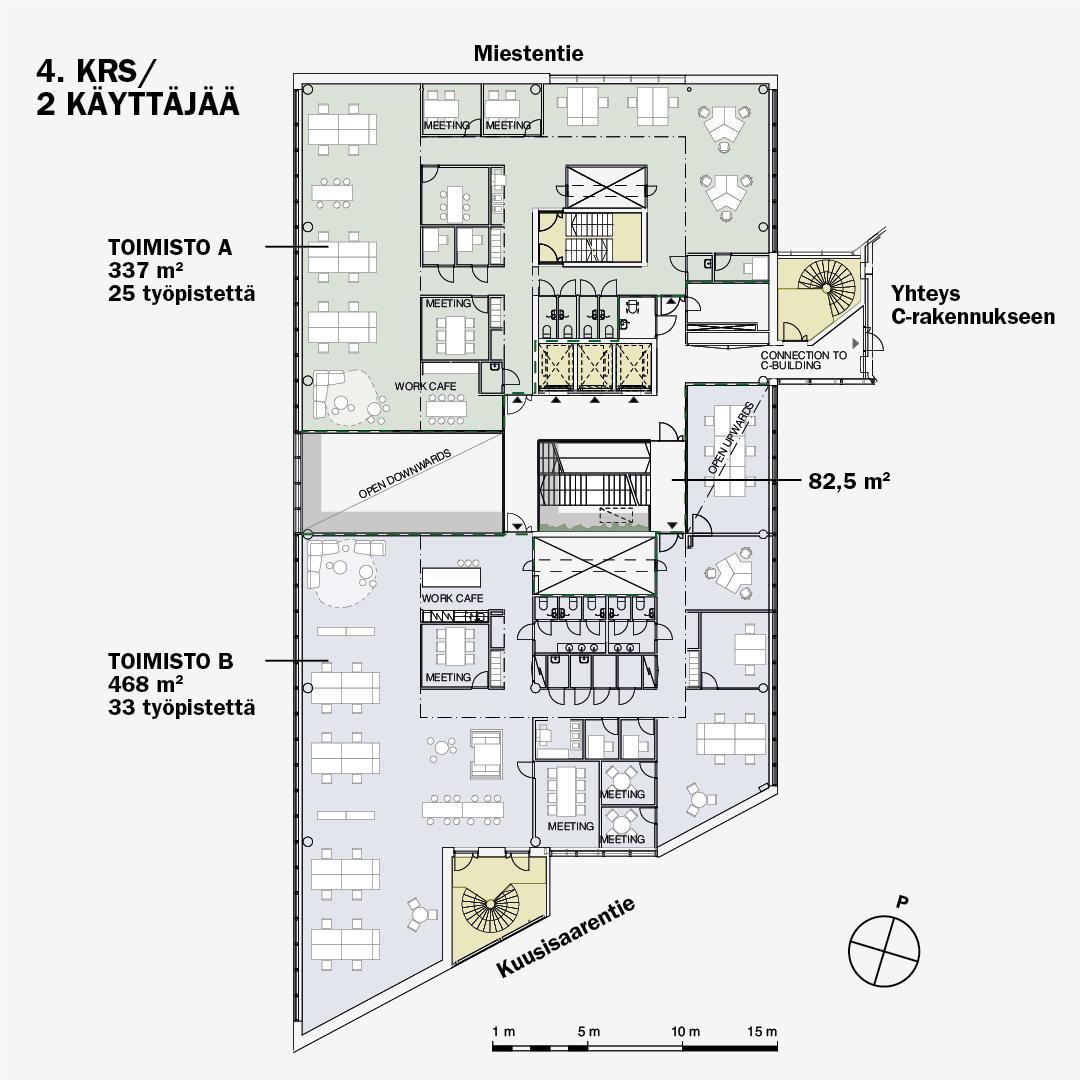 Miestentie 7 B-talo, 465m2, 4. kerros, Toimistotila