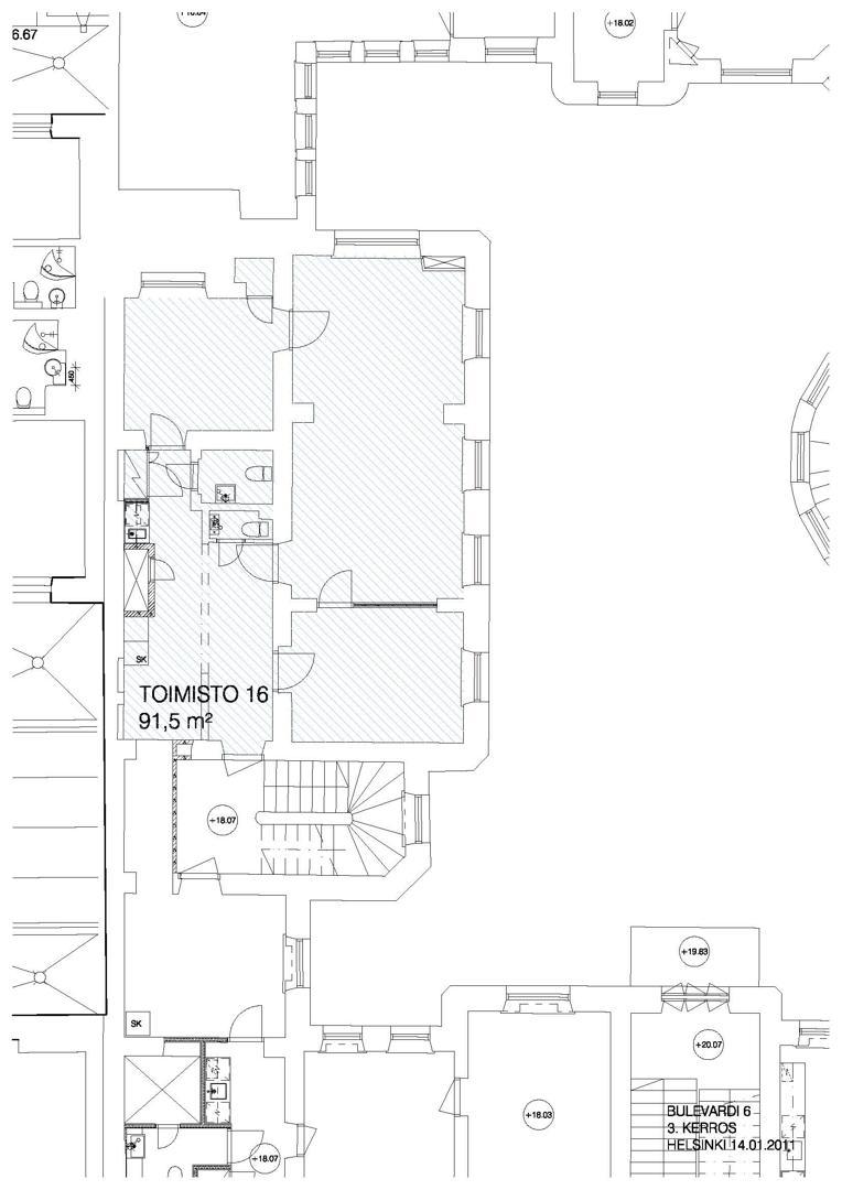 Bulevardi 6, 91m2, 3. kerros, Toimistotila